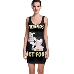 Friends Not Food   Cute Cow, Pig And Chicken Bodycon Dress