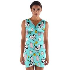 The Farm Pattern Wrap Front Bodycon Dress