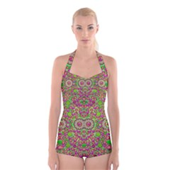 Love The Wood Garden Of Apples Boyleg Halter Swimsuit