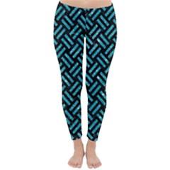 Woven2 Black Marble & Turquoise Glitter (r) Classic Winter Leggings