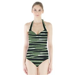 Sketched Wavy Stripes Pattern Halter Swimsuit