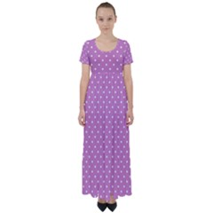 Pink Polka Dots High Waist Short Sleeve Maxi Dress