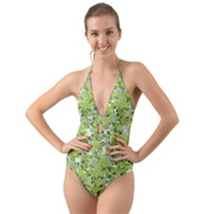 Leaves Fresh Halter Cut Out One Piece Swimsuit
