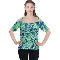 Moonlight On The Leaves Cutout Shoulder Tee
