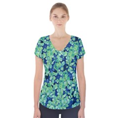 Moonlight On The Leaves Short Sleeve Front Detail Top
