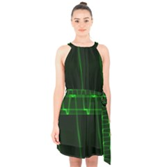 Background Signal Light Glow Green Halter Collar Waist Tie Chiffon Dress