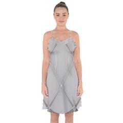 Background Light Glow White Grey Ruffle Detail Chiffon Dress
