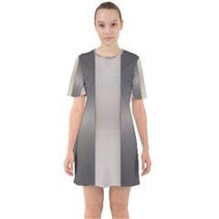 Wall Steel Ivory Creative Texture Sixties Short Sleeve Mini Dress