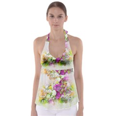 Flowers Bouquet Art Nature Babydoll Tankini Top