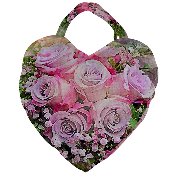Flowers Bouquet Wedding Art Nature Giant Heart Shaped Tote