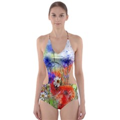 Flowers Bouquet Art Nature Cut Out One Piece Swimsuit