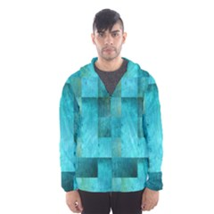 Background Squares Blue Green Hooded Wind Breaker (men)