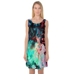 Background Art Abstract Watercolor Sleeveless Satin Nightdress