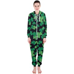 St  Patricks Day Clover Pattern Hooded Jumpsuit (ladies)
