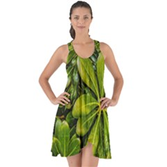 Top View Leaves Show Some Back Chiffon Dress