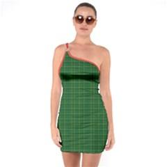 Irish Style Tartan One Shoulder Ring Trim Bodycon Dress
