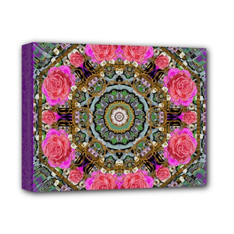 Roses In A Color Cascade Of Freedom And Peace Deluxe Canvas 14  X 11