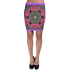 Roses In A Color Cascade Of Freedom And Peace Bodycon Skirt