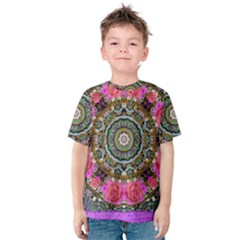 Roses In A Color Cascade Of Freedom And Peace Kids  Cotton Tee