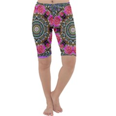 Roses In A Color Cascade Of Freedom And Peace Cropped Leggings