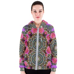 Roses In A Color Cascade Of Freedom And Peace Women s Zipper Hoodie