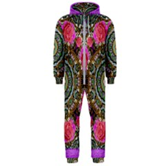 Roses In A Color Cascade Of Freedom And Peace Hooded Jumpsuit (men)