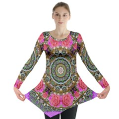 Roses In A Color Cascade Of Freedom And Peace Long Sleeve Tunic