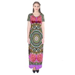 Roses In A Color Cascade Of Freedom And Peace Short Sleeve Maxi Dress