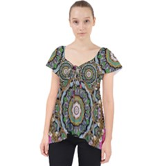 Roses In A Color Cascade Of Freedom And Peace Lace Front Dolly Top