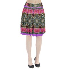 Roses In A Color Cascade Of Freedom And Peace Pleated Skirt
