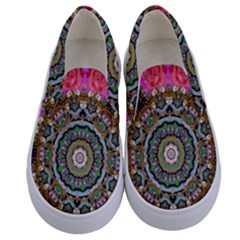 Roses In A Color Cascade Of Freedom And Peace Kids  Canvas Slip Ons