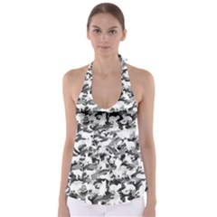 Black And White Catmouflage Camouflage Babydoll Tankini Top