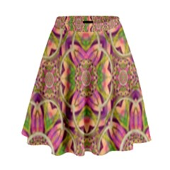 Jungle Flowers In Paradise  Lovely Chic Colors High Waist Skirt