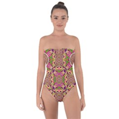 Jungle Flowers In Paradise  Lovely Chic Colors Tie Back One Piece Swimsuit