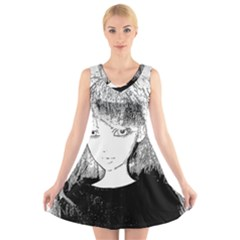 Girl V Neck Sleeveless Skater Dress