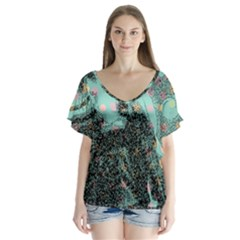 Grainy Angelica V Neck Flutter Sleeve Top