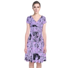 Lilac Yearbook 1 Short Sleeve Front Wrap Dress