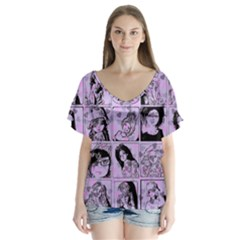 Lilac Yearbook 2 V Neck Flutter Sleeve Top