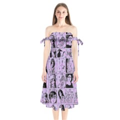 Lilac Yearbook 2 Shoulder Tie Bardot Midi Dress