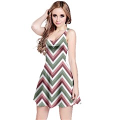 Chevron Blue Pink Reversible Sleeveless Dress