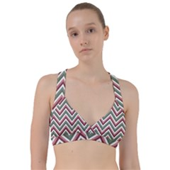 Chevron Blue Pink Sweetheart Sports Bra