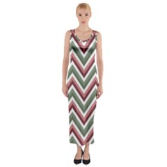 Chevron Blue Pink Fitted Maxi Dress