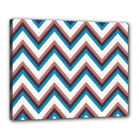 Zigzag Chevron Pattern Blue Magenta Canvas 20  X 16