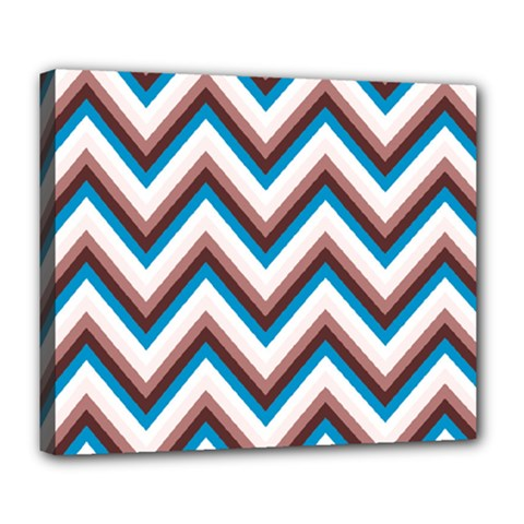 Zigzag Chevron Pattern Blue Magenta Deluxe Canvas 24  X 20