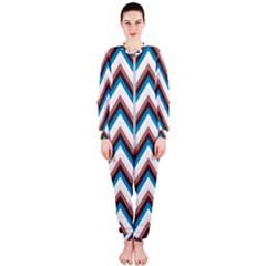 Zigzag Chevron Pattern Blue Magenta Onepiece Jumpsuit (ladies)