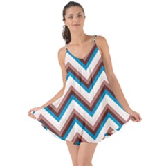 Zigzag Chevron Pattern Blue Magenta Love The Sun Cover Up