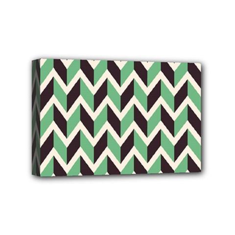 Zigzag Chevron Pattern Green Black Mini Canvas 6  X 4