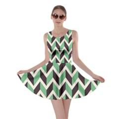 Zigzag Chevron Pattern Green Black Skater Dress