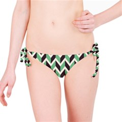 Zigzag Chevron Pattern Green Black Bikini Bottom