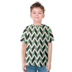 Zigzag Chevron Pattern Green Black Kids  Cotton Tee